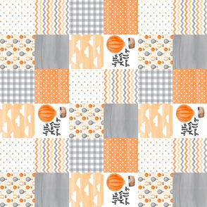 3 inch Hot Air Balloon//Oh the places you'll go//Orange&Grey - Wholecloth Cheater Quilt - Rotated