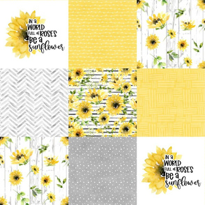 Sunflower//Bloom where you are planted - Wholecloth Cheater Quilt