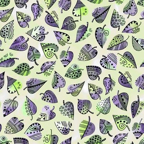 Watercolor Decorative Foliage / Green and Violet