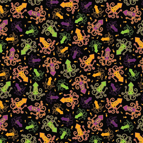Squid Attack! scatter print (neon colorway)