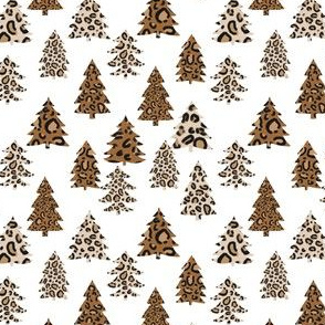 SMALL leopard print christmas trees - leopard print, christmas tree, christmas leopard print, holiday leopard - white