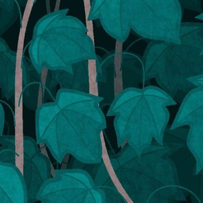 "Green Climbing Vines, cold shades, 21"""