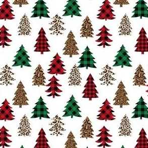SMALL leopard print christmas trees - leopard print, buffalo plaid, red and green, christmas tree, christmas leopard print, holiday leopard - white
