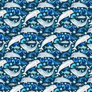 Dolphin Frolic on Navy - Tiny