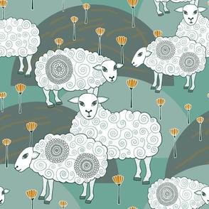 """Sheep  (12"""") - jade/yellow"""