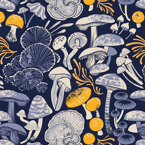 Normal scale // Mystical fungi // midnight blue background ivory pale blue and yellow wild mushrooms