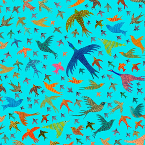 birds on blue sky