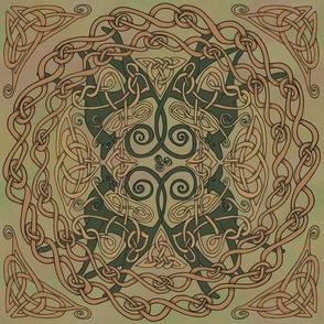 Art Nouveau Greyhounds - Natural Greens