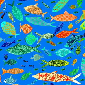 fishes on blue