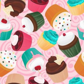 Cupcakes and Swirls Collection - Cupcakes on Pink by JoyfulRose