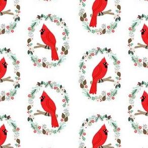 Christmas cardinal fabric - birds, nature, wreath - white