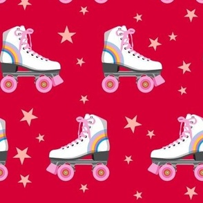 Roller Rink* (Rainbows on Tomato Soup) || skates roller-skate rollerskate skating stars 70s 80s disco red coral