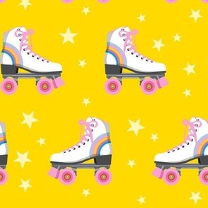 Roller Rink* (Rainbows on Velvet Banana) || skates roller-skate rollerskate skating stars 70s 80s disco yellow gold