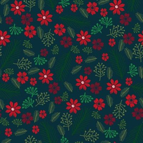 christmas floral - christmas poinsettia, floral red and green - navy