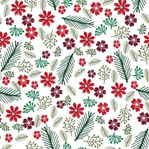 christmas floral - christmas poinsettia, floral red and green - white