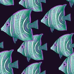 "Under the Sea (12"") - aqua/purple"