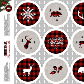 """Buffalo Plaid Cut out Christmas Ornaments for 4"""" Hoop with bear, deer, antlers, Merry Christmas"""
