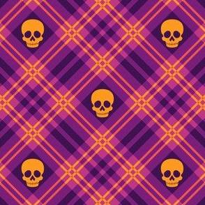 Skull Tartan Plaid in Warm Purple 1/2 Size