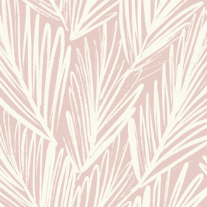 Pink Palm - textures, modern, hand-drawn leaves in pink and cream - large scale