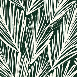 Green Palm - hand-drawn, textured, large leaves - large scale