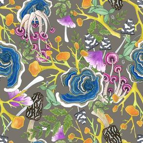 Fabulous Fungi Greige Large Print