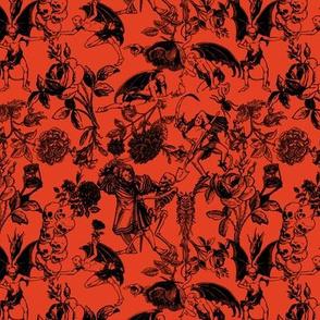 Demons N' Roses Toile in Halloween Orange + Black