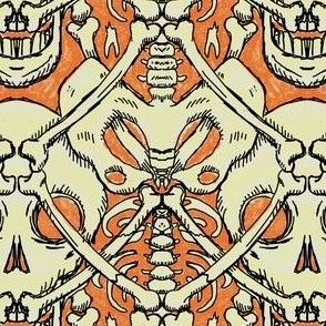 boneyard damask in orange and cream