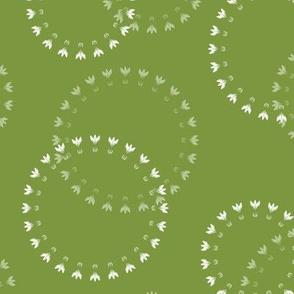 Summer Solstice Florets (white on green)
