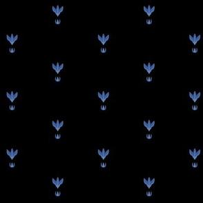 Midsummer Night Florets Grid (blue on black)