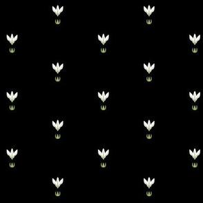 Midsummer Night Florets Grid (white on black)
