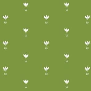 Summer Solstice Florets Grid (white on green)