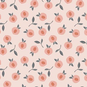 Fruit garden peaches love bohemian botanical leaves soft nursery design girls orange coral