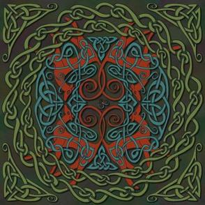 Art Nouveau Greyhounds - Green & Red