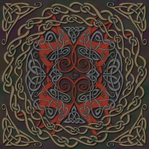 Art Nouveau Greyhounds - Red & Dark Taupe