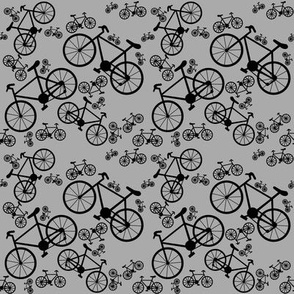 Bicycles Big and Small  Black and Gray