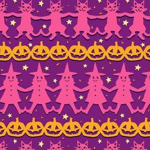Cut Paper Halloween Pals on Warm Purple