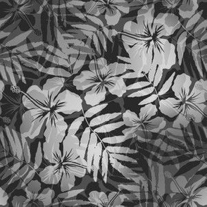 Grayscale tropic flowers