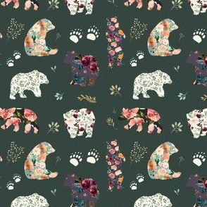 "3.5"" Patchwork Bears Floral Dark"