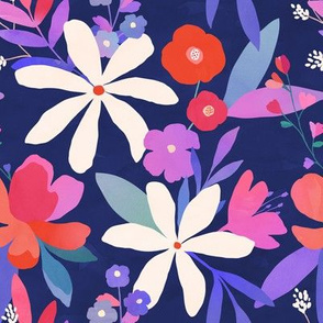 Floral Fabric with Blue Background