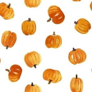 Tossed Orange Pumpkins by Erin Kendal Watercolor Pumpkins