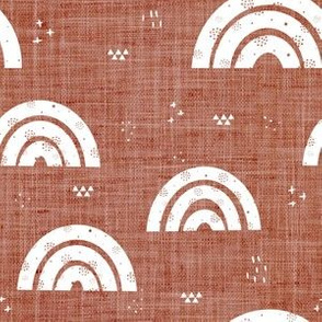 Rust and White Rainbow Linen Collection