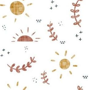 Summer Skies Mustard Rainbow Linen Collection