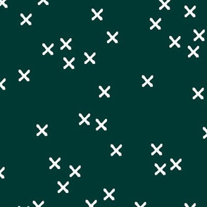 Christmas crosses and sparkly boho night magic seasonal minimal design night green white
