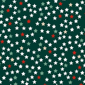 Christmas stars and sparkly night magic seasonal minimal design night green red