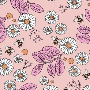 Daisy Blossom and Flower garden bees summer design botanical boho nursery nature love pink yellow