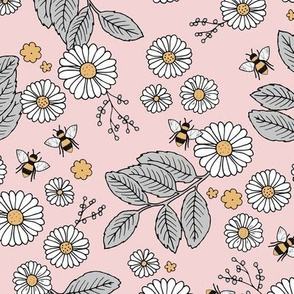 Daisy Blossom and Flower garden bees summer design botanical boho nursery nature love neutral gray peach pink yellow