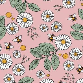 Daisy Blossom and Flower garden bees summer design botanical boho nursery nature love soft green pink