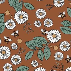 Daisy Blossom and Flower garden bees summer design botanical boho nursery nature love rust copper green
