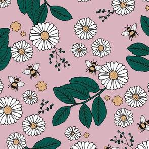 Daisy Blossom and Flower garden bees summer design botanical boho nursery nature love mauve forest green