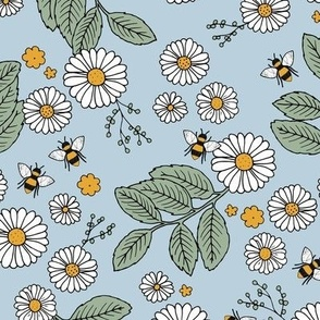 Daisy Blossom and Flower garden bees summer design botanical boho nursery nature love blue green yellow